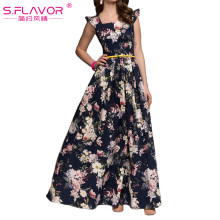 S.FLAVOR Women printing party vestidos 2018 Spring Summer fashion sleeveless ruffles long dress Elegant Women Bohemian dress(China)