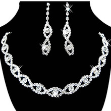 Retro Charm Classic Bride Jewelry Sets Crystal Rhinestone Necklace And Earrings Bride Acessory
