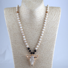 Free Shipping White & Lave Stone Horn Pendant Ethnic Necklace Bohemian Tribal Jewelry(China)