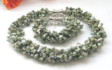 "free shipping 18"" & 8""5row 8mm green baroque keshi reborn freshwater pearl necklace & bracele Natural Fine jewelry"