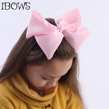"60Colors 1Pc Big Hair Bows Boutique 8"" Large Solid Grosgrain Ribbon Hair Bow Clips Barrette Bow For Women Girls Accessories(China)"