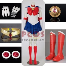 Best Price Set ~ Tsukino Usagi Serena From Sailor Moon Cosplay Costume & head accessories & Boots mp000139(China)