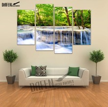 Modern Canvas HD Printed Painting Framed 4 Panel Green Tree Waterfall Landscape Painting Nature Pictures Wall Art for Room