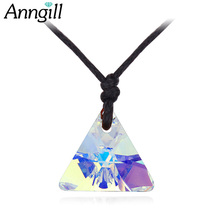 ANNGILL Crystals From Swarovski Pendant Necklaces for Women Triangle Necklaces & Pendants Rope Chain Jewelry Brand Accessories