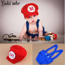 New Top Selling Super Mario Design Handcrafted Crochet Newborn Photography Props Baby Hat & Shorts Infant Costume Outfit Set(China)
