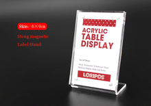 90*60mm 5 pcs L strong magnetic advertising tag sign card display stand Acrylic table Desk menu service Label Holder Stand