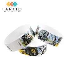 200pcs no logo full color printing one time use party wristband latest paper id bracelet woven wristbands for events