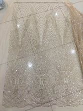 Hand print glued glitter african tulle net lace/ SYJ-11251 african french mesh lace fabric for party evening dress