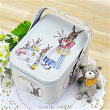 1pcs easter rabbit decoration candy box storage jewelry boxes wedding chocolate packaging box tin decorative boxes pascoa