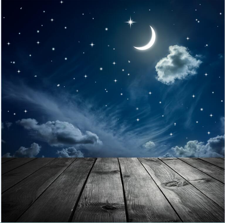 Night  Sky Moon Cloud Star Photography Backgrounds High-grade Vinyl cloth Computer printed Wooden backdrops<br><br>Aliexpress
