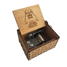 Star wars theme Wooden Music Box Anonymity Antique carved Star wars wooden hand crank Musical Boxes Kids Birthday Present