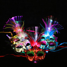 Women Venetian LED Fiber Mask Masquerade Fancy Dress Party Princess Feather Masks masquerade masks(China)