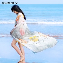 GERINLY Scarves Beach Pareo Summer Women Flower Shawls Printed Scarf New Fashion Swimwear Bikini Cover Up Hawaiian Sarong Dress(China)
