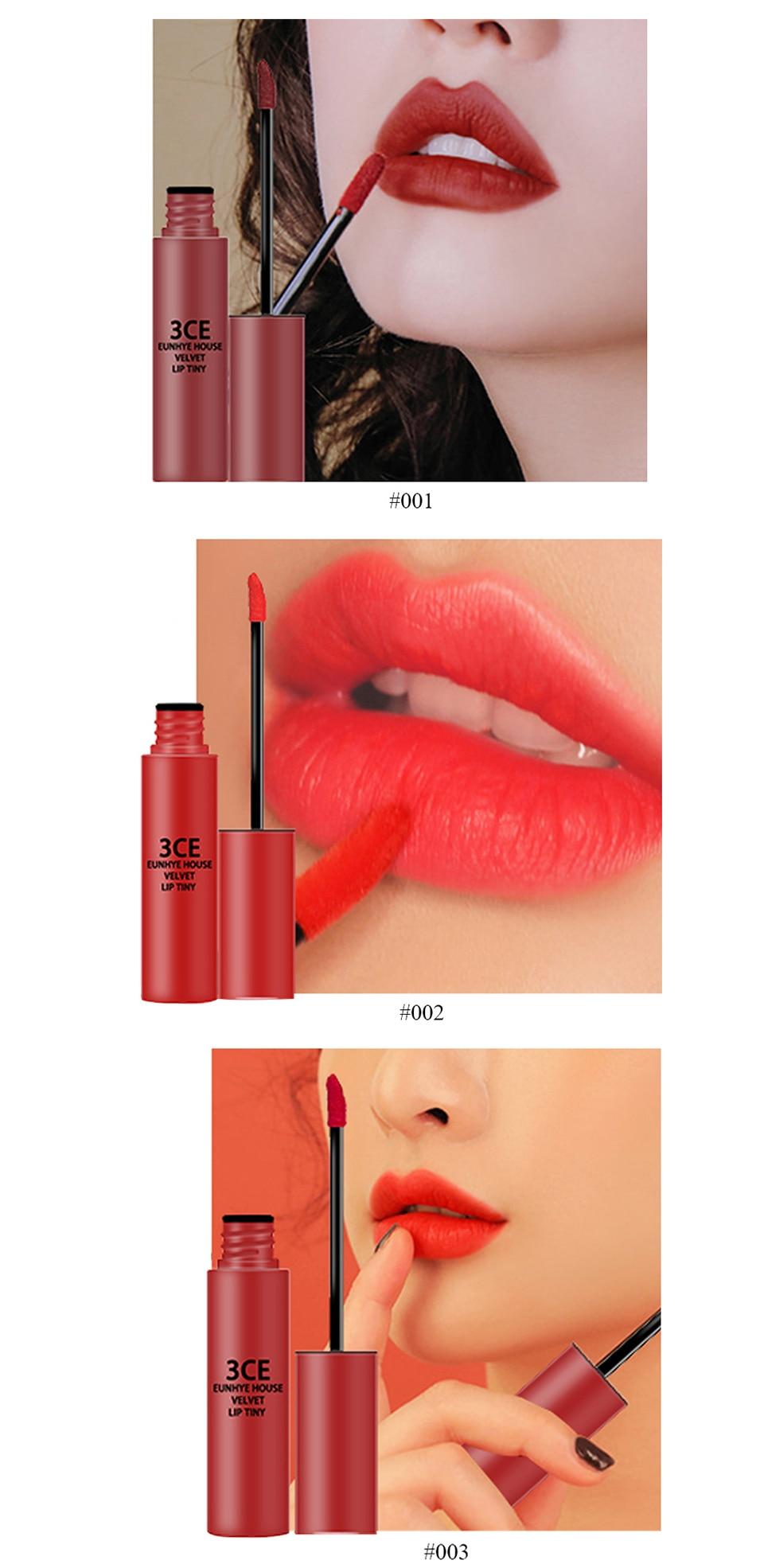 3CE Eunhye House Brand New Lip Cosmetics 3 colors Lip glaze Moisturizer Long-lasting Lip Makeup for common 13