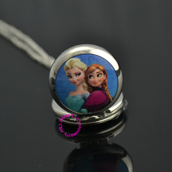 silver blue 2 two cute cartoon sister Elsa Anna pocket watch necklace woman girl lady child new fashion new hot gift antibrittle<br><br>Aliexpress