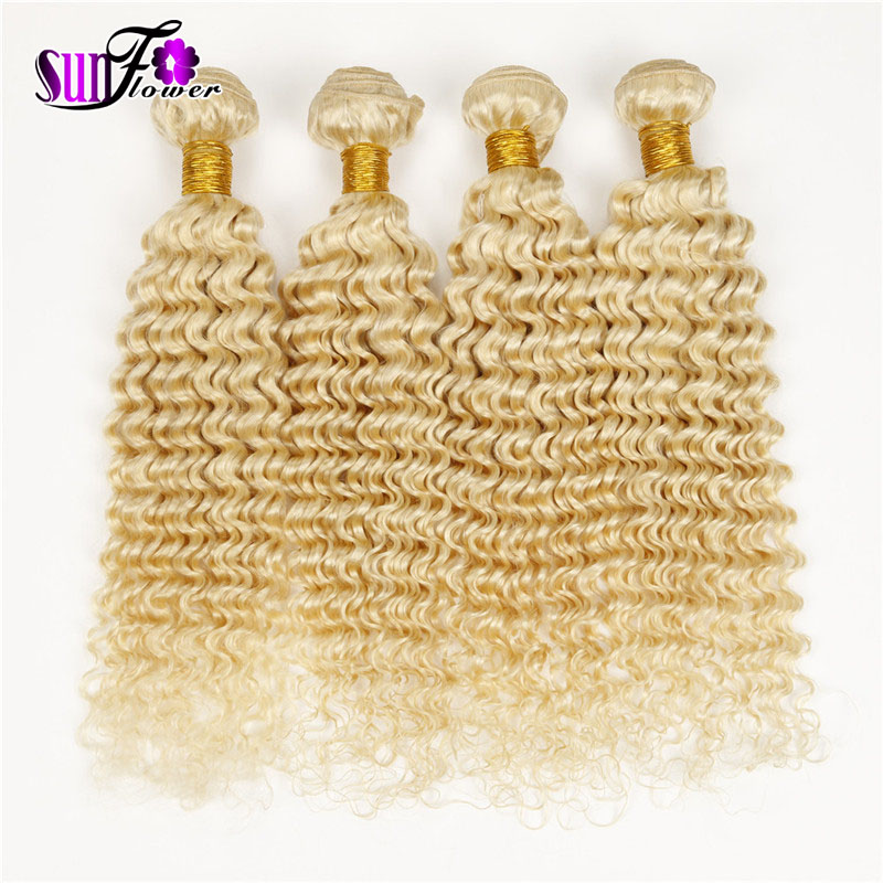 Virgin curly weaves Irina hair product 4pcs lot malaysian virgin hair extensions deep curly white blonded #613 mixed length sale<br><br>Aliexpress