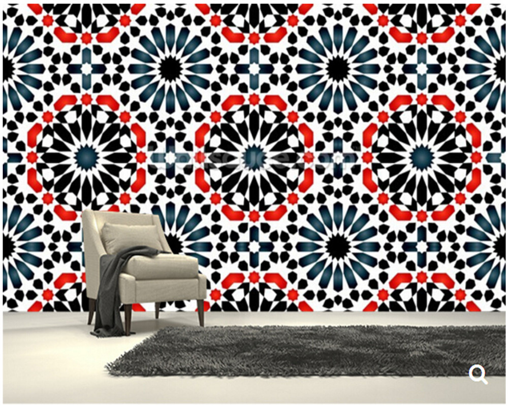 Custom 3D art wallpaper ,Islamic pattern,for the living room bedroom restaurant background wall silk papel de parede <br>