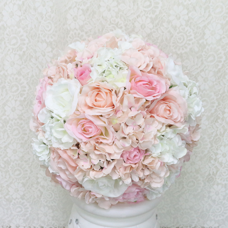 JAROWN Artificial Wedding Flower Ball Simulation Rose Hydrangea Flowers Hemisphere Roman Column Decor Home Party Decor Flores (16)