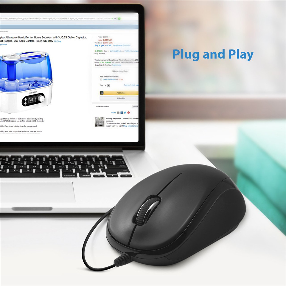 Delux USB Wired Mouse M131 Professional gaming Mouse Quick Click Optical Mouse Ergonomic Universal Mice For Office Home PC