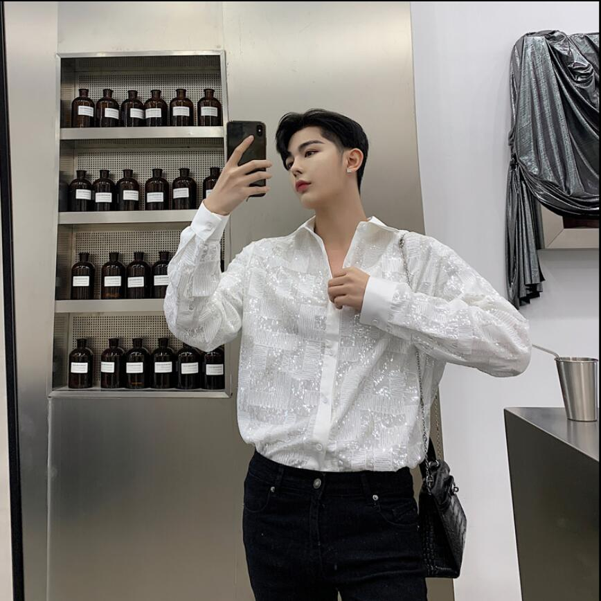 2019 Spring new personality sequins shirts men's loose long-sleeved shirt nightclub hair stylist youth shirt tide singer costume
