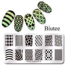 Biutee 1Pc 6cmX12cmNail Art Templates Classical Wave Leopard Stripe Designs Stamp Polish Stainless DLY Nail Stamping Plates(China)
