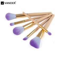 Vander Pro 6Pcs Makeup Brushes Set Powder Blush Foundation Eyeshadow Eyeliner Lip Cosmetic Kit Beauty Blending Tools Maquiagem