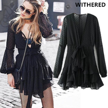 Buy Withered 2017 winter dress vestidos vestido de festa women vintage V-NECK lace-up bow sexy party mini dress women tops ukraine for $17.31 in AliExpress store