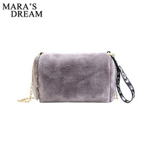 Mara's Dream Cute Women Plush Shoulder Bag Winter Soft Girl Messenger Bag Barrel-shape Crossbody Bag Luxury Design Part Handbag(China)