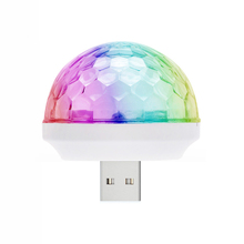 Universal Adaptor USB Mini LED Disco Light KTV Home Atmosphere Lights LED Crystal Ball Sound Activated Home Entertainment Light(China)