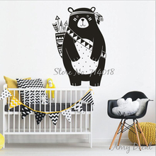 Tribal Bear Wall Decal Woodland Animal Bear Wall Sticker For Kids Room Tribal Nursery Wall Sticker Home Decoration Vinyl A741(China)