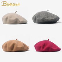 Fashion Woolen Baby Girls Hats Candy Color Elastic Infant Baby Beret Hat for 1-4 Years 1 PC(China)