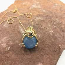 Europe and the United States new crown frog prince necklace blue natural stone pendant cute fairy tale girl necklace XL061