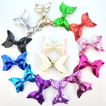 Express Free Wholesale 300pcs/lot 4*2.4 inch Synthetic Leather Glitter Bow Kids Hair Accessories 14 Colors U Pick HDJ110