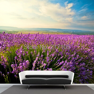 Romantic Provence lavender large living room sofa TV wall mural backdrop wallpaper<br>