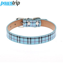 Fashion Plaid Dog Collar Durable PU Leather Adjustable Bling Rhinestone Pet Puppy Collar S/M
