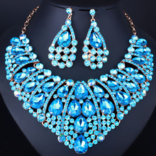 Fashion Teardrop African Jewelry Set Choker Necklace and Earrings Rhinestone Crystal Bridal Wedding Jewelry Sets(China)