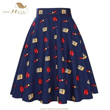 2017 New Fashion Black Skirt Women High Waist Plus Size Floral Print Polka Dot Ladies Summer Skirts 50s Vintage Midi Skirt 20S2