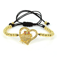 4 Color Anil Arjandas Girls Bracelets High Quality 4mm Brass Beads Hello Kitty Connector Macrame Bracelet for Women ZZB-42