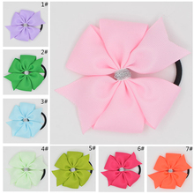 3.6''  Solid Ribbon Hairbow Handmade Pinwheel Bows With Elastic Band Windmill Hair Accessories 15COLORS