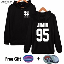 MULYEN Bangtan Boys 2th Album WINGS Hoodies Women BTS Kpop Sweatshirt Zip-up Young Forever Hoodie Moletom Feminino