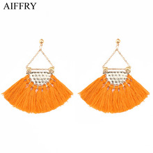 Aiffry Sector Red Black Orange Bohemian Tassel Drop Earrings For Women Brincos E2391(China)
