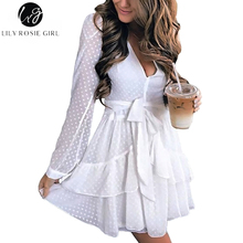 Buy Lily Rosie Girl Sexy Deep V Neck Women White Mesh Dresses 2017 Autumn Long Sleeve Mini Dress Summer Lady Party Beach Vestidos for $16.99 in AliExpress store
