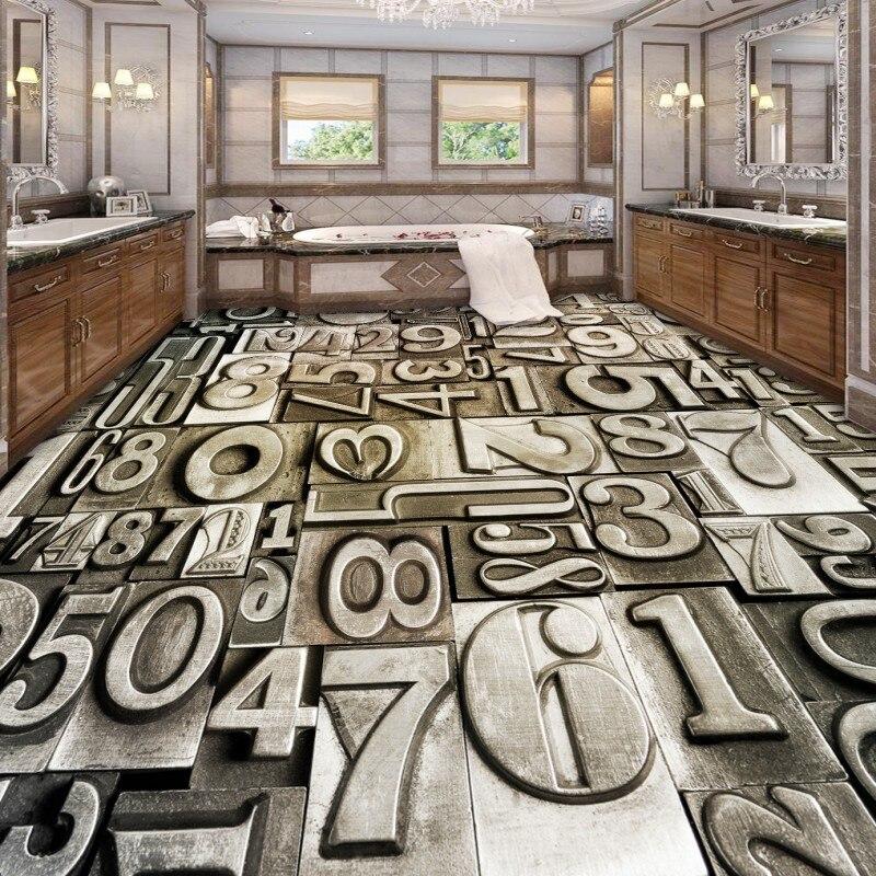 Free shipping chinese floor Creative digital bathroom living room 3D floor wallpaper waterproof self-adhesive kitchen mural<br>