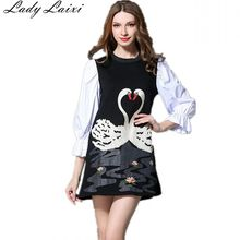 Fashion new spring Autumn women High quality swan pattern embroidery Three Quarter Sleeve patchwork color O-Neck dress(China)