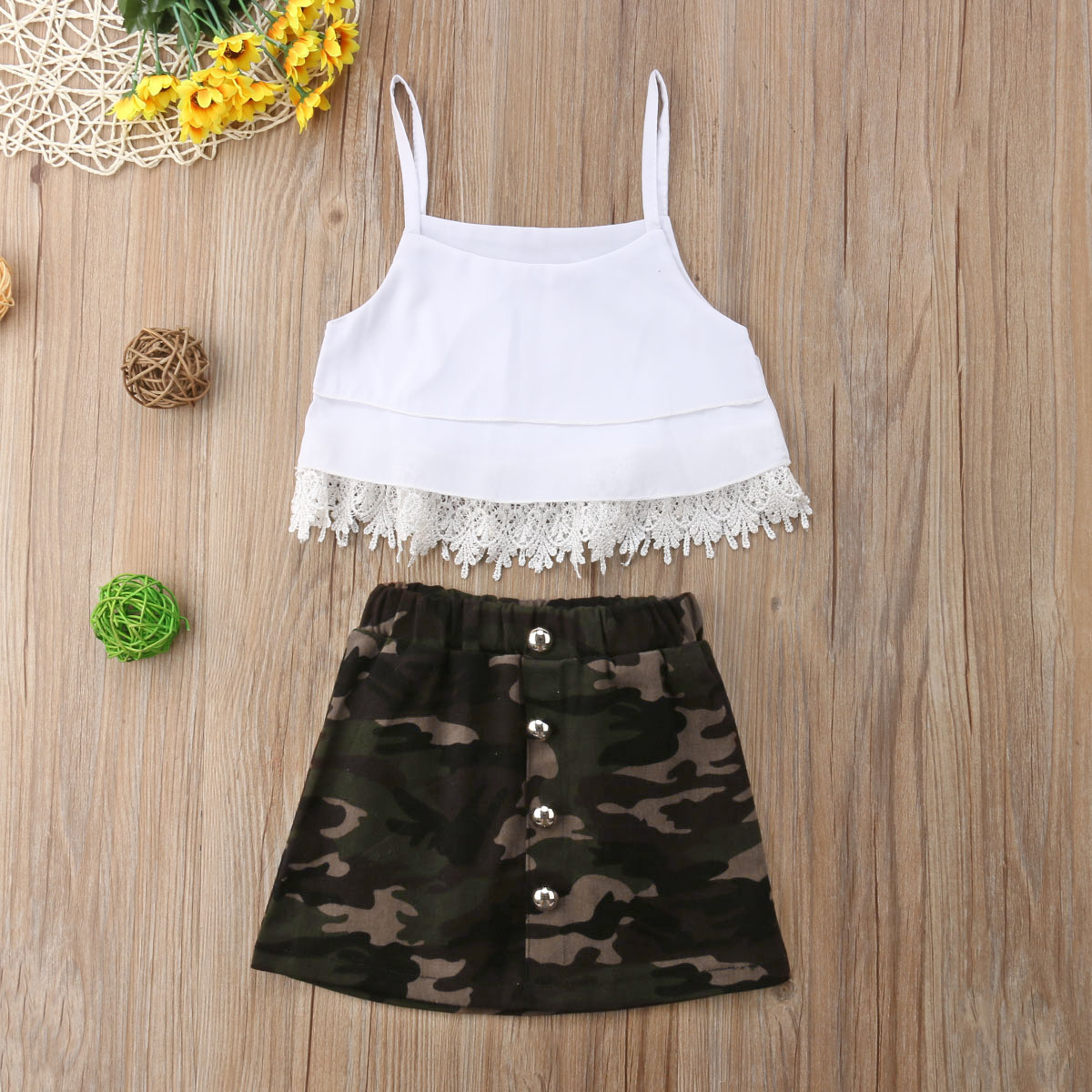 Toddler Baby Girls Skirts Set Stripes Tee Shirt Tops+Cute Overall Skirt Casual Dress