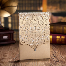 10pcs Gold White Rhinestone & Laser Cut Flower Elegant Engagement card / Wedding Invitation Custom With Envelope Party Supplies