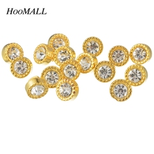 Hoomall 10mm Gold Color Rhinestone Buttons 50PCs Plastic Acrylic Buttons Craft Scrapbooking Shank Buttons Sewing Accessories(China)