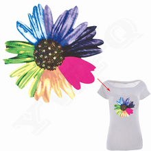 Colorful Flower Patch 21*20cm Washable Decoration Print On Chest Of Clothes Christmas Gift T-Shirt Dress Heat Transfer