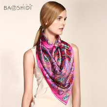 2016 New Arrival BAOSHIDI Luxury Brand original design wrap, Pure Silk Women 106*106 Square Pattern Scarf ,hand printed, rolled