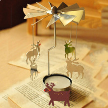 Practical Beauty Rotary Spinning Carousel Angel Tea Light Christmas Gift Candle Holder dEER(China)